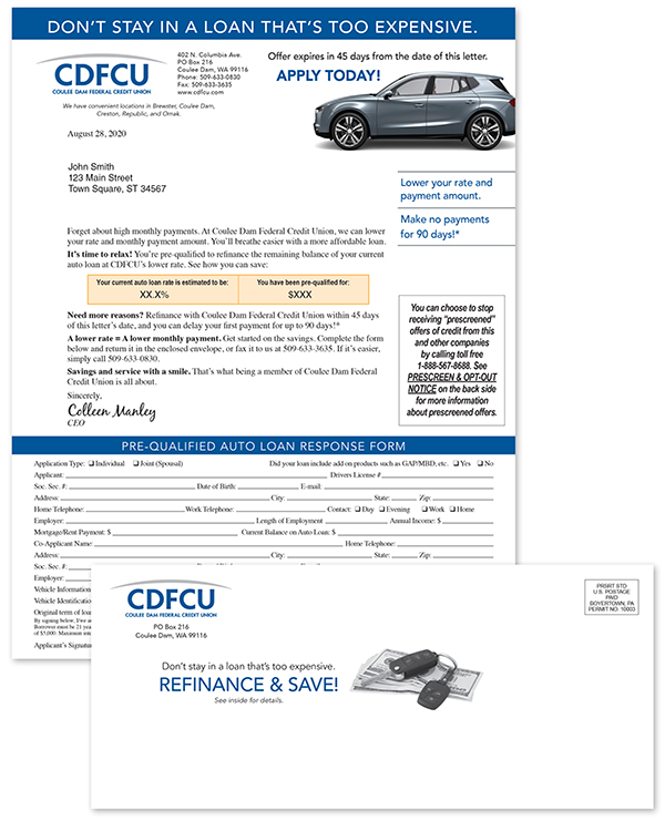 targeted direct mailing for prescreened auto loans