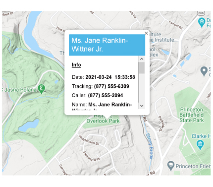 call tracking map view